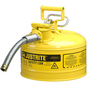 "Justrite® Type II AccuFlow™ Steel Safety Can, 2.5 Gal., 1"" Metal Hose, Yellow, 7225230"
