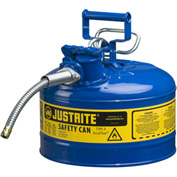 "Justrite® Type II AccuFlow™ Steel Safety Can, 2.5 Gal., 5/8"" Metal Hose, Blue, 7225320"