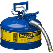 "Justrite® Type II AccuFlow™ Steel Safety Can, 2.5 Gal., 1"" Metal Hose, Blue, 7225330"