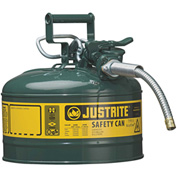 "Justrite® Type II AccuFlow™ Steel Safety Can, 2.5 Gal., 5/8"" Metal Hose, Green, 7225420"