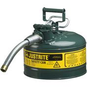 "Justrite® Type II AccuFlow™ Steel Safety Can, 2.5 Gal., 1"" Metal Hose, Green, 7225430"