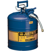 "Justrite® Type II AccuFlow™ Steel Safety Can, 5 Gal., 5/8"" Metal Hose, Blue, 7250320"