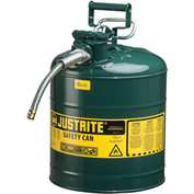 "Justrite® Type II AccuFlow™ Steel Safety Can, 5 Gal., 5/8"" Metal Hose, Green, 7250420"