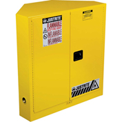Justrite Sure-Grip® EX Safety Corner Cabinet 893100 - 30 Gallon, Manual, Yellow, 43x22x44