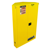 Justrite Sure-Grip® EX Safety Corner Cabinet 894620 - 45 Gallon, Self-Closing, Yellow, 43x22x65