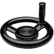 "JW Winco - 10MED5/D - Plastic, Large Hub 3-Spoked Handwheel w/ Rev Handle - 4.92"" Dia x 10mm Bore"