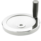 "JW Winco - 10MF04/D - Aluminum Solid Disk Handwheel w/ Rev Handle - 3.15"" Dia x 10mm Bore"