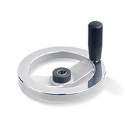 "JW Winco - 14KE80/DDR - Safety Clutch Handwheel - Needle Bearing w/Handle 6.30""D-14mm Bore & Keyway"