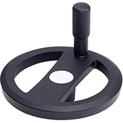 "JW Winco - 14MRX4K/R - Alum. Flat-Faced Spoked Handwheel w/ Rev Handle - 6.30"" D-14mm Bore - Black"