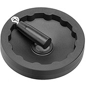 "JW Winco - 6381005 - Plastic Solid Disk Handwheel w/ Retractable Handle - 3.94"" D x .16"" Pilot Hole"