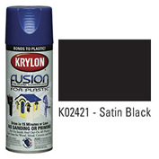Krylon Fusion For Plastic Paint Satin Black - K02421007 - Pkg Qty 6