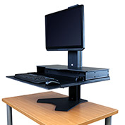 Hover Helium Standard Sit-Stand Workstation - Single Monitor Mount - Black