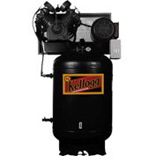 Kellogg Two-Stage Electric Air Compressor L001119, 230V, 7.5HP, 1PH, 120 Gal.