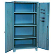 "Kennedy Storage Cabinet 10350UB 39-1/4""W x 23-1/4""D x 76""H Welded with Pegboard- Blue"