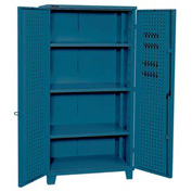 "Kennedy Storage Cabinet 10350BL 39-1/4""W x 23-1/4""D x 76""H Welded with Pegboard- Classic Blue"