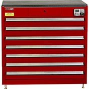 "Kennedy eKentrol Modular Drawer Cab w/Ind Drw Lock 39117EKR - 7 Drawer 39-1/4""x24""x36"" Red"