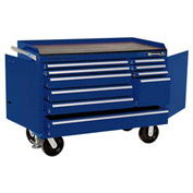 "Kennedy® 4800MPBL 48"" 10-Drawer Industrial Mobile Bench - Blue"