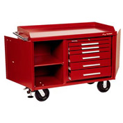 "Kennedy® 4806R 48"" 6-Drawer Industrial Mobile Bench - Red"