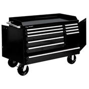 "Kennedy® 4810BK 48"" 10-Drawer Industrial Mobile Bench - Black"