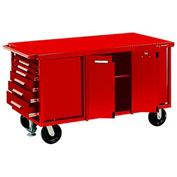 "Kennedy® 6006R 60"" 6-Drawer Industrial Mobile Bench - Red"