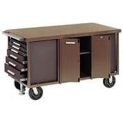 "Kennedy® 6012EB 60"" 12-Drawer Industrial Mobile Bench w/Side Shelves - Black"
