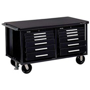 "Kennedy® 6012SBK 60"" 12-Drawer Industrial Mobile Bench - Black"