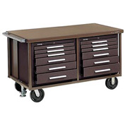 "Kennedy® 6012SR 60"" 12-Drawer Industrial Mobile Bench - Red"