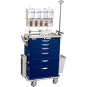 Blue Bell Medical™ BAC-30 Deluxe Anesthesia Cart 89011 - CPB Lock, 6 Drawers