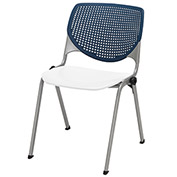 "KFI 18"" Poly Stack Chair with Perforated Back - Navy/White"
