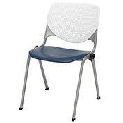 "KFI 18"" Poly Stack Chair with Perforated Back - White/Navy"