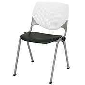 """KFI 18"""" Poly Stack Chair with Perforated Back - White/Black"""