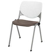 """KFI 18"""" Poly Stack Chair with Perforated Back - White/Brownstone"""