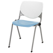 "KFI 18"" Poly Stack Chair with Perforated Back - White/Sky Blue"