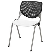 "KFI 18"" Poly Stack Chair with Perforated Back - Black/White"