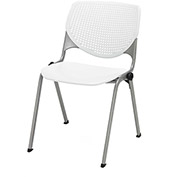 KFI Stack Chair with Perforated Back -  Plastic Seat - White - KOOL Series