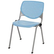 "KFI 18"" Poly Stack Chair with Perforated Back - Sky Blue"