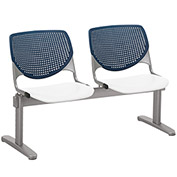 KFI Beam Seating Guest Chairs - 2 Seater - Navy/White