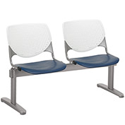 KFI Beam Seating Guest Chairs - 2 Seater - White/Navy