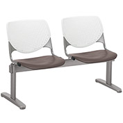 KFI Beam Seating Guest Chairs - 2 Seater - White/Brownstone