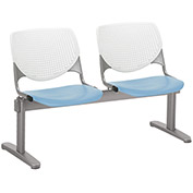 KFI Beam Seating Guest Chairs - 2 Seater - White/Sky Blue