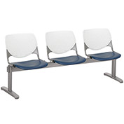 KFI Beam Seating Guest Chairs - 3 Seater - White/Navy