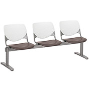 KFI Beam Seating Guest Chairs - 3 Seater - White/Brownstone