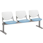 KFI Beam Seating Guest Chairs - 3 Seater - White/Sky Blue