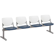 KFI Beam Seating Guest Chairs - 4 Seater - White/Navy