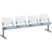 KFI Beam Seating Guest Chairs - 4 Seater - White/Sky Blue