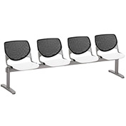KFI Beam Seating Guest Chairs - 4 Seater - Black/White