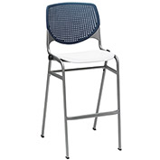 "KFI 30"" Poly Stack Chair with Perforated Back - Navy/White"