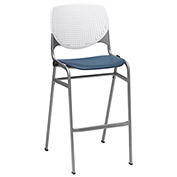 "KFI 30"" Poly Stack Chair with Perforated Back - White/Navy"