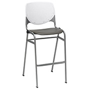 "KFI 30"" Poly Stack Chair with Perforated Back - White/Brownstone"