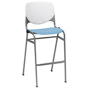 "KFI 30"" Poly Stack Chair with Perforated Back - White/Sky Blue"